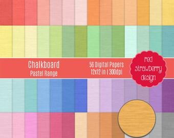 75% OFF Sale - 56 Digital Papers - Chalkboard Pastel Range - Instant Download - JPG 12x12 (DP251)