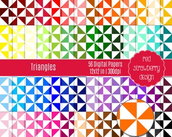 75% OFF Sale - 56 Digital Papers - Triangles - Instant Download - JPG 12x12 (DP202)