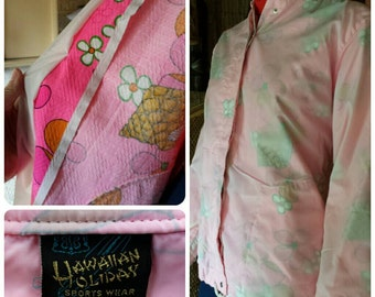 Vintage Hot Pink 1970's Hawaiian Tiki Jacket / Coat / Wondbreaker