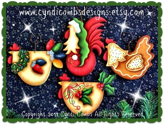 CC106 - Funky Christmas Chickens Ornaments - Painting E Pattern by Cyndi Combs