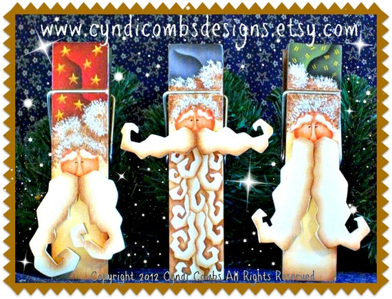 CC102 - Old St. Nick 6 inch Memo Clips - Painting E Pattern by Cyndi Combs