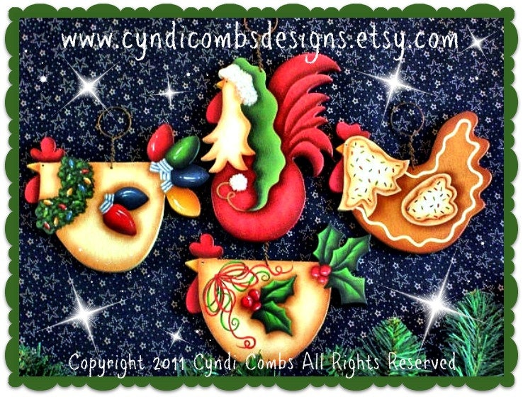Cc funky christmas chickens ornaments painting e