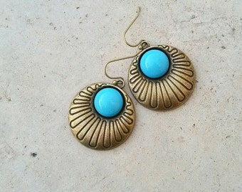 Gipsy boho light blue earrings,Antique brass drop earrings,Sky blue earrings,Statement earrings,Geometrical tribal earrings,Sky blue jewelry
