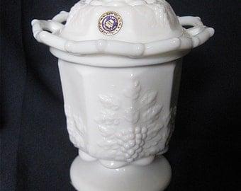 Westmoreland Paneled Grape Sugar Bowl Milk Glass