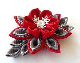 Handmade Red Wedding Boutonniere. Men's Red Grey Lapel Pin.Red gray flower brooch . Kanzashi flower lapel pin. Red Boutonniere lapel pin.
