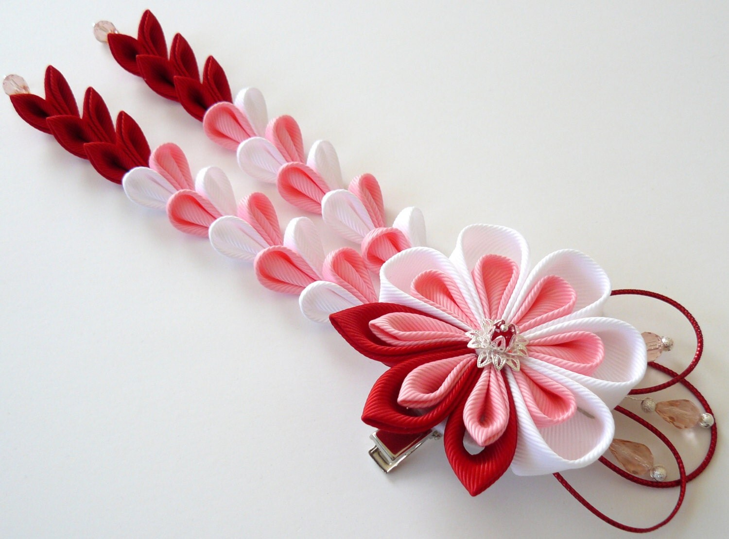 Japanese hair ornaments - Kanzashi Flower Hair Clip With Falls Red Pink White Fabric Flower Red Pink White
