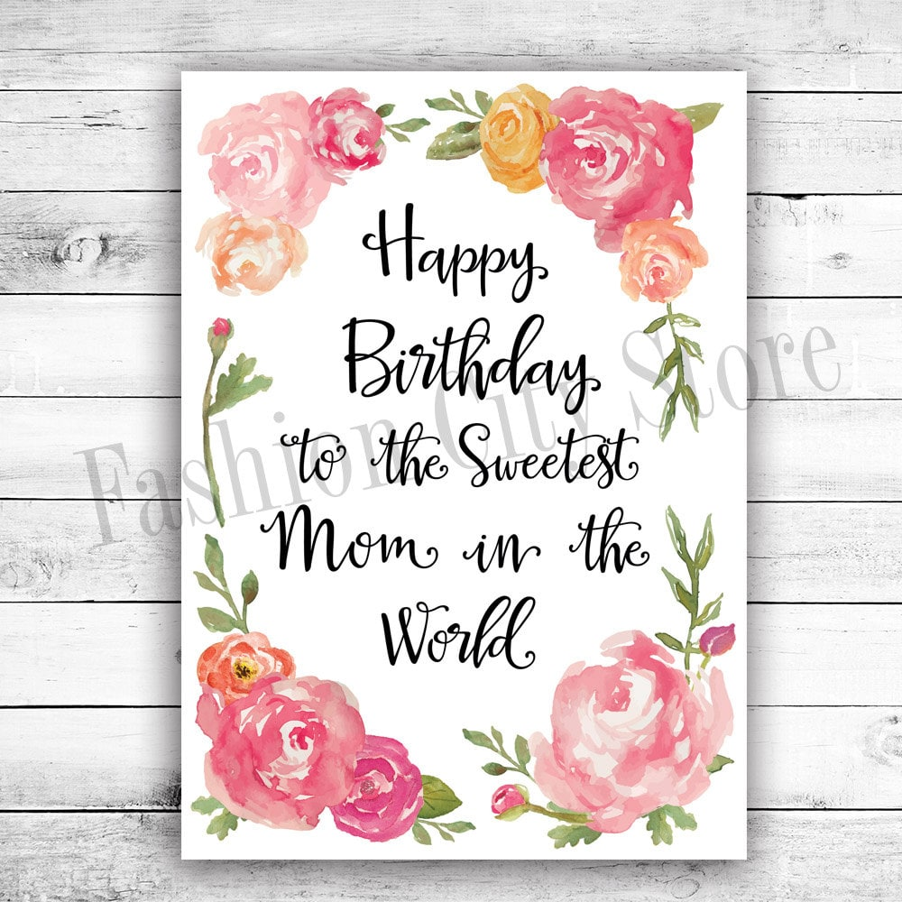 Happy Birthday Card For Mom Watercolor By FashionCityStore