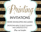 Printing Services Add-On - Service - Matte Card Stock or Shimmery -  Including white Envelopes