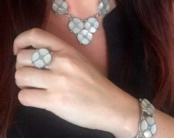 Zuni Flower Sterling Silver Turquoise & Mother of Pearl Cuff Bracelet, Necklace and Ring Set