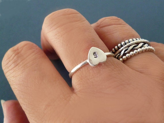 Tiny Heart Ring with Initials, Personalised Silver Heart Initial Ring, Heart with Initial, Monogram Custom Jewellery, Anniversary Gift.
