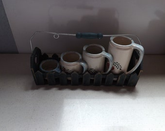 Country Measuring Cup Rack and Pottery Measuring Cups