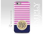 Monogram iPhone Case, Monogram iPhone 6 Case, iPhone 5s Case, Personalized Cover, Pink Stripes and Gold Monogram Case, iPhone 6 Plus Case
