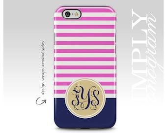 Monogram, iPhone X Case, iPhone 7 Case, iPhone 8 Plus Case, Personalized Case, Pink Stripes, Samsung Galaxy Case, Galaxy S8 Plus Case