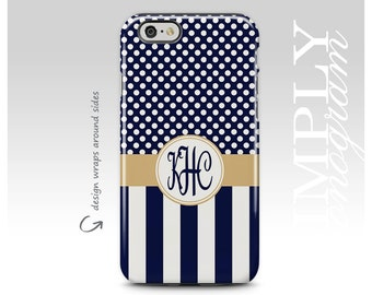 iPhone 7 Case, Monogram Case, iPhone 8 Case, Personalized Case, iPhone 7 Plus Case, Navy Blue Stripes, Galaxy S8 Plus Case, Polka Dots