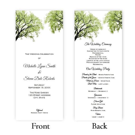 Tea Length Wedding Program Spring Trees 2 DIY Printable