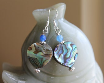 Heart Shape Abalone Earrings with Blue Faceted Agate, sterling silver hook