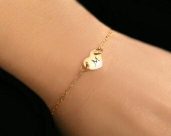 Heart Bracelet, Personalized Bracelet, Tiny Heart Jewelry, Stamped Heart Initial Bracelet, Dainty Gold Bracelet, Bracelet Gift Under 35