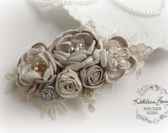 R720 Hairpiece bridal floral hair clip - veil wedding hair accessory - Taupe oyster and vanilla - Fascinator mother of the bride or groom