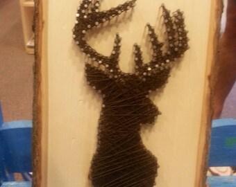 "8.5x11"" Brown Deer String Art on Tree Bark Plaque"