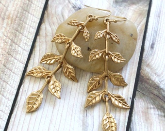 Matte Gold Leaves Branch Earrings, Leaf Branch Earrings , Gold Leaves Earrings, Bridesmaid Earrings, Leaves Earrings, Style No.6034