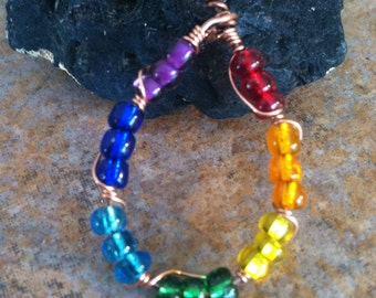 Chakra balancing pendant, Rainbow jewelry, Copper wire wrapped pendant, metaphysical yoga jewelry, Healing, Handmade
