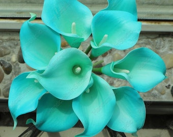 Real Touch Flowers Pool Blue Calla Lily 10 Stems Bouquet Artificial Calla Lilies For Bridal Bridesmaids Bouquets, Corsages, Centerpieces