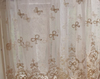 ivory Lace Fabric, Embroidered Lace Fabric with bows lace fabric, embroidered tulle lace fabric