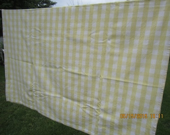 Vintage Yellow White Gingham Checked Tablecloth