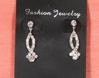 Rhinestone earrings - Pierced