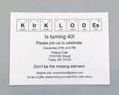 Chemistry Invitation / Periodic Table of the Elements Birthday Invitation (set of 20)