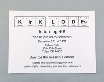 Chemistry Invitation / Periodic Table of the Elements Birthday Invitation (set of 20)