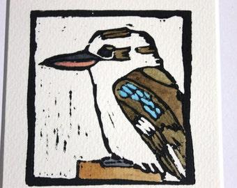 Australian kookaburra linocut print