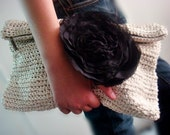 Off White Gold Oversized Clutch Purse, Large Chiffon Flower Pin