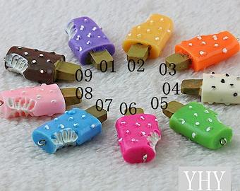 9 Resin Ice Cream Stick Charms XH-001