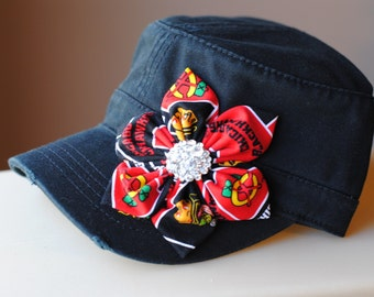 Womens Chicago Blackhawks Hats, Distressed Military Cadet flower hat. Black Cadet Bling Hat Blackhawks Womens Hat