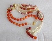 Indian Ethnic Beaded Necklace / Statement Necklace with Stone Pendant-Pacchi Work - Orange