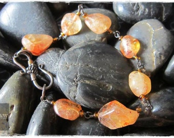 Oxidised copper Sunstone nugget bracelet