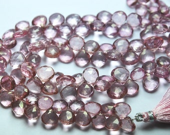 1/2 Strand,Finest Quality, MYSTIC Pink Quartz Faceted Heart Shape Briolettes,7-7.5mm