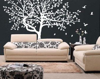 Vinyl Wall Decal Stylish Huge Tree with Falling Leafs & Birds / Nature Art Decor Home Sticker / Removable DIY Mural + Free Random Decal Gift