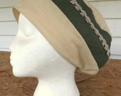 365 Vineyard Green & Biscotti Beige Snood Cap Head Cover with Natural Linen Fringe Trim