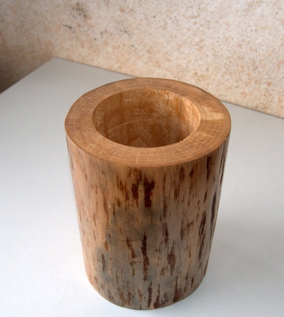 Wedding centerpiece wood stump vase log