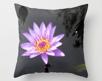 Water Lily Pillow, Lotus Flower Pillow, Purple Pillow Cover, Floral Pillowcase, Zen Decor, Lily Pads, 16X16 Pillow Cover, 18X18