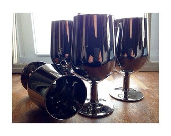 Vintage French Glasses -Stemware- Silver Chrome -Listing Per Glass-