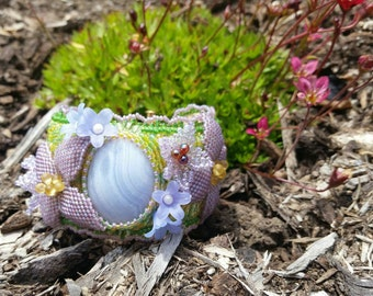 Blue Lace Agate flower bead embroidery bracelet