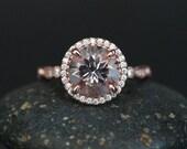Morganite Engagement Ring 14k Rose Gold Morganite Round 9mm and Diamond Halo Ring Milgrain Band