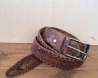 BRAIDED LEATHER BELT, Pleated leather belt, Woven belt, Braided Belt, Trousers Belt, plaited belt