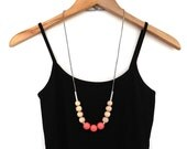 Coral wood beaded necklace, simple beaded necklace, statement necklace, neutral jewelry, natural wood necklace, extra long necklace