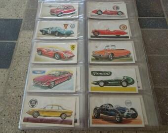 Vintage Tea Cards.  History of the Motor Car.  Complete Set of 50.  1968.  Brooke Bond Tea  English