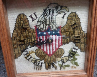 American Eagle Needlepoint Cross Stitch Clock