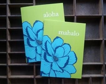 Blue Peony Aloha or Mahalo Folded Note Cards - Set of 6